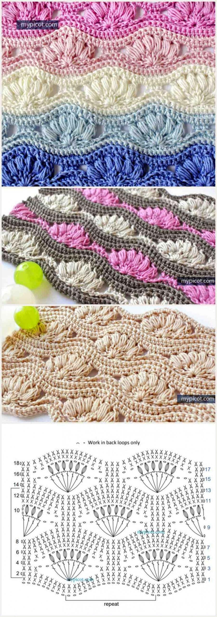 Passo-a-passo e gráfico de pontos fantasia em crochê #1 - Ponto ondas de conchas