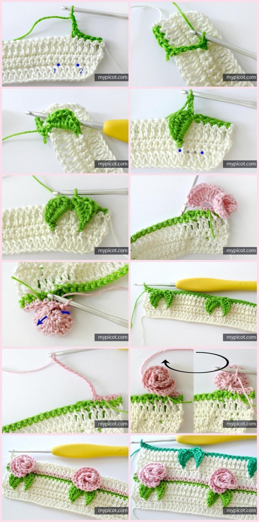Passo-a-passo e gráfico de pontos fantasia em crochê #1 - Ponto flor