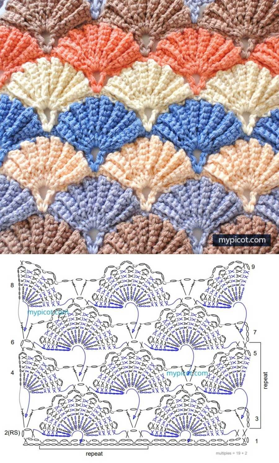 Passo-a-passo e gráfico de pontos fantasia em crochê #1 - Ponto concha
