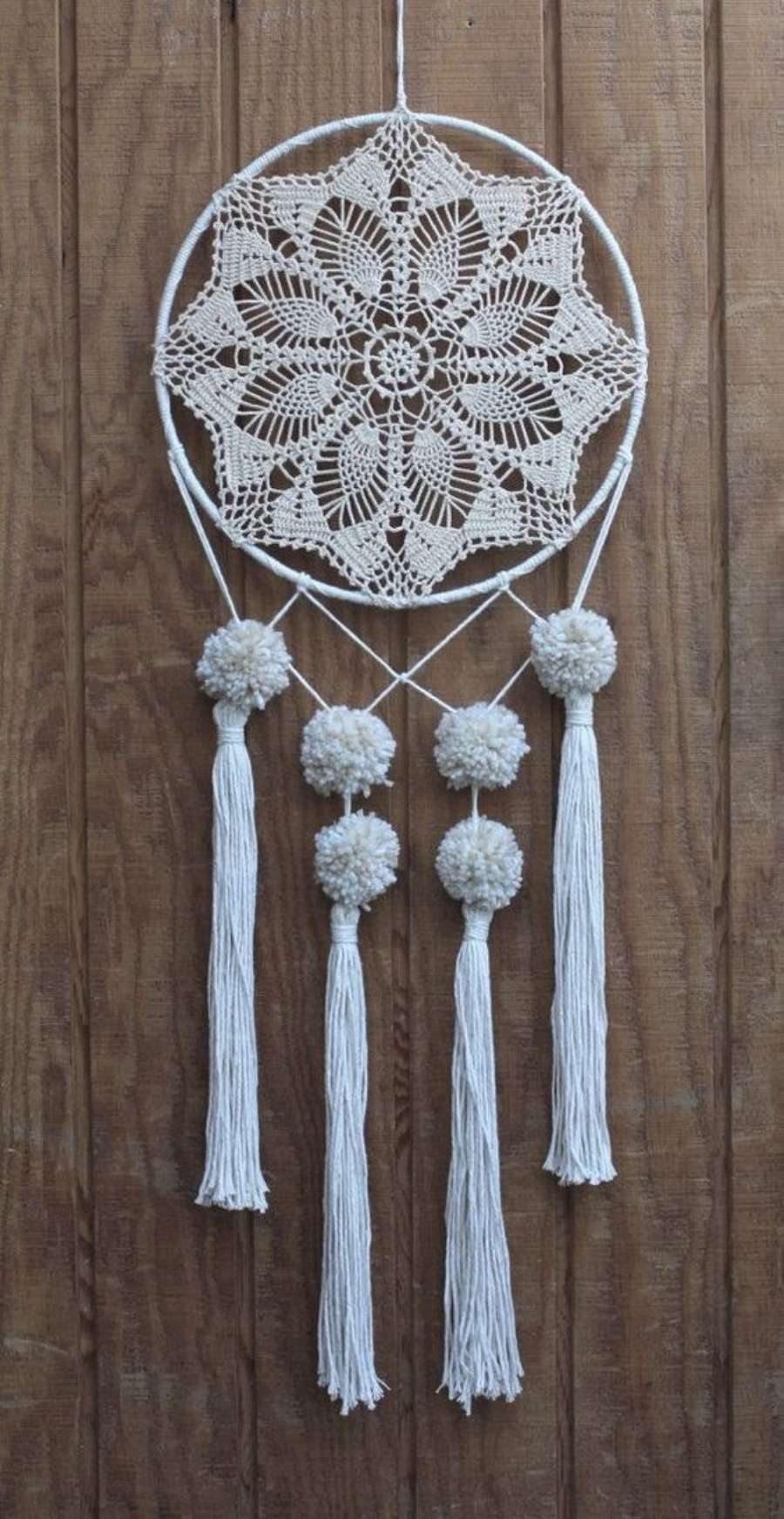 Para copiar : Filtro dos sonhos - ponto abacaxi em crochê