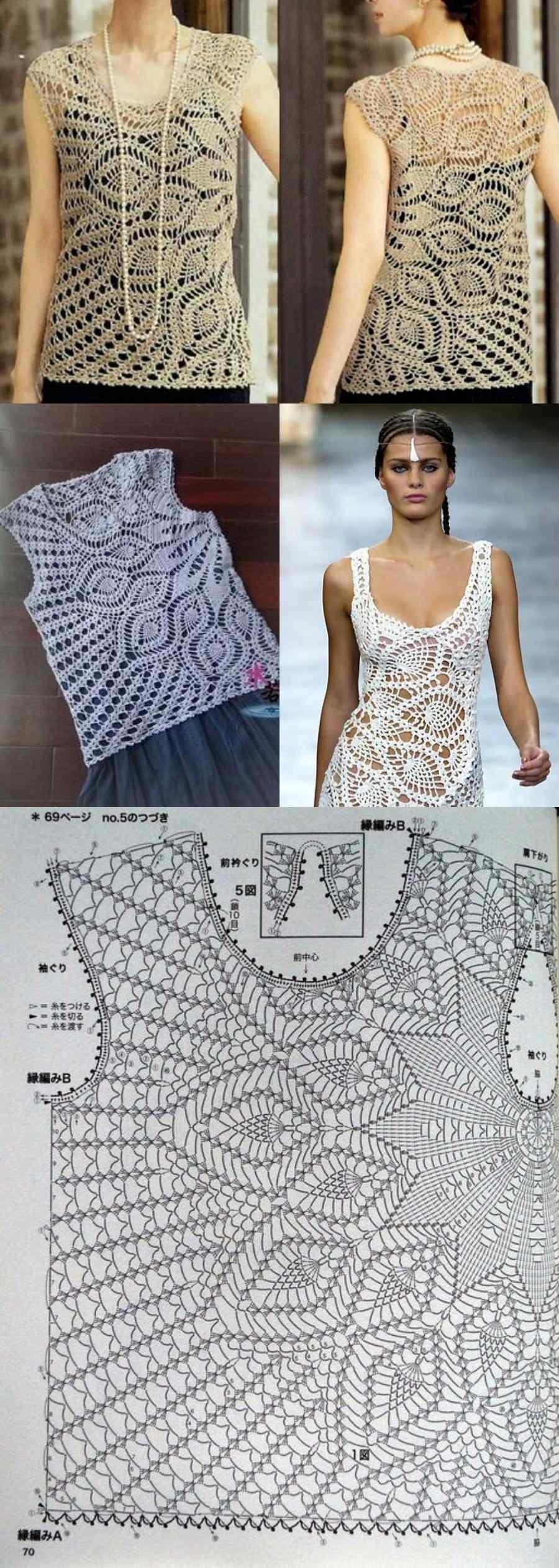 Blusa com gráfico de ponto abacaxi em crochê