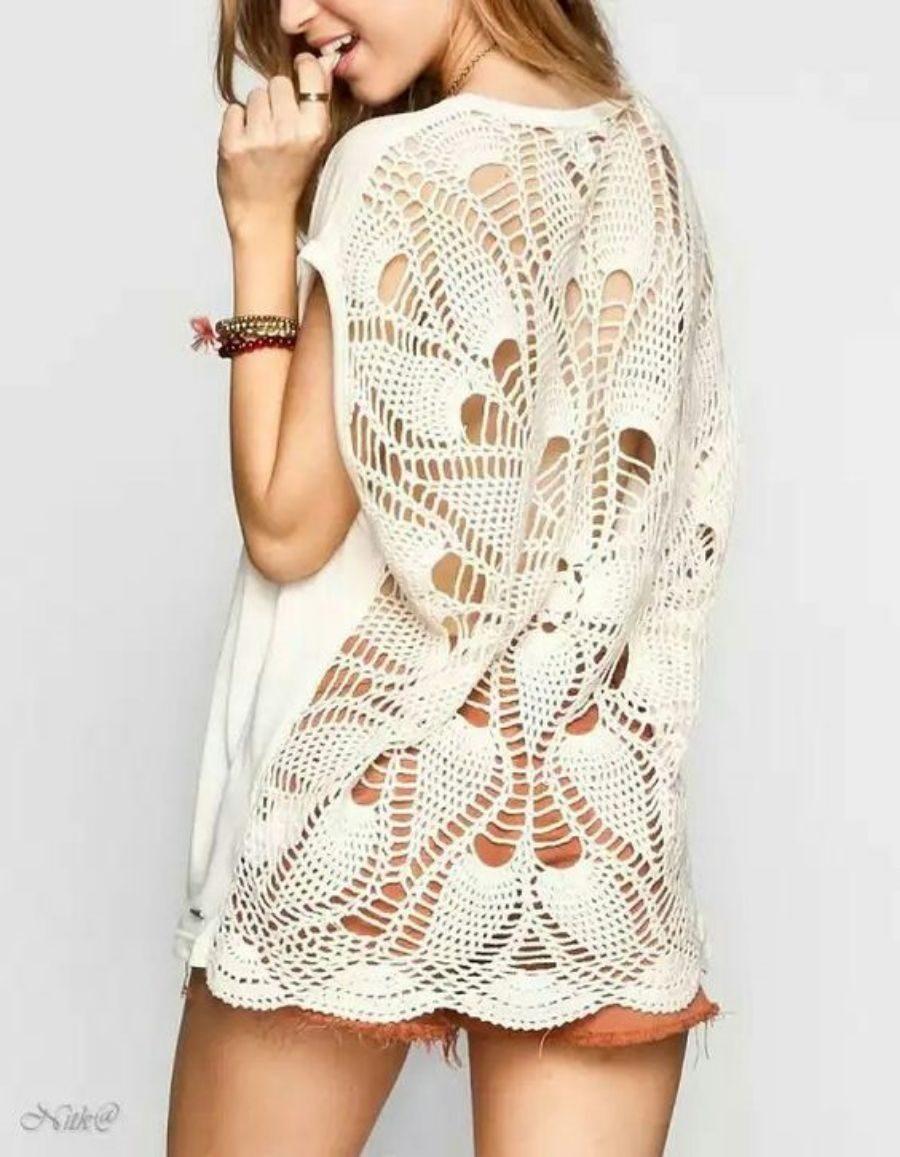 Para copiar : Blusa com detalhe nas costas com ponto abacaxi em crochê
