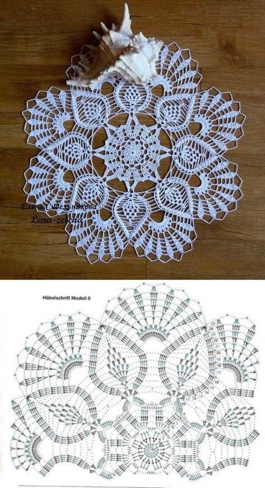 Gráfico de toalha de mesa com  ponto abacaxi em crochê