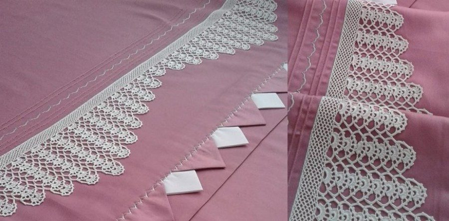 Para copiar: bico de crochê no lençol