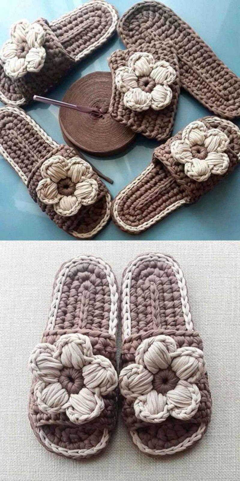 12 Ideias de chinelos feito com fio de  malha para copiar