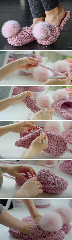 Como montar o chinelo de fio de malha