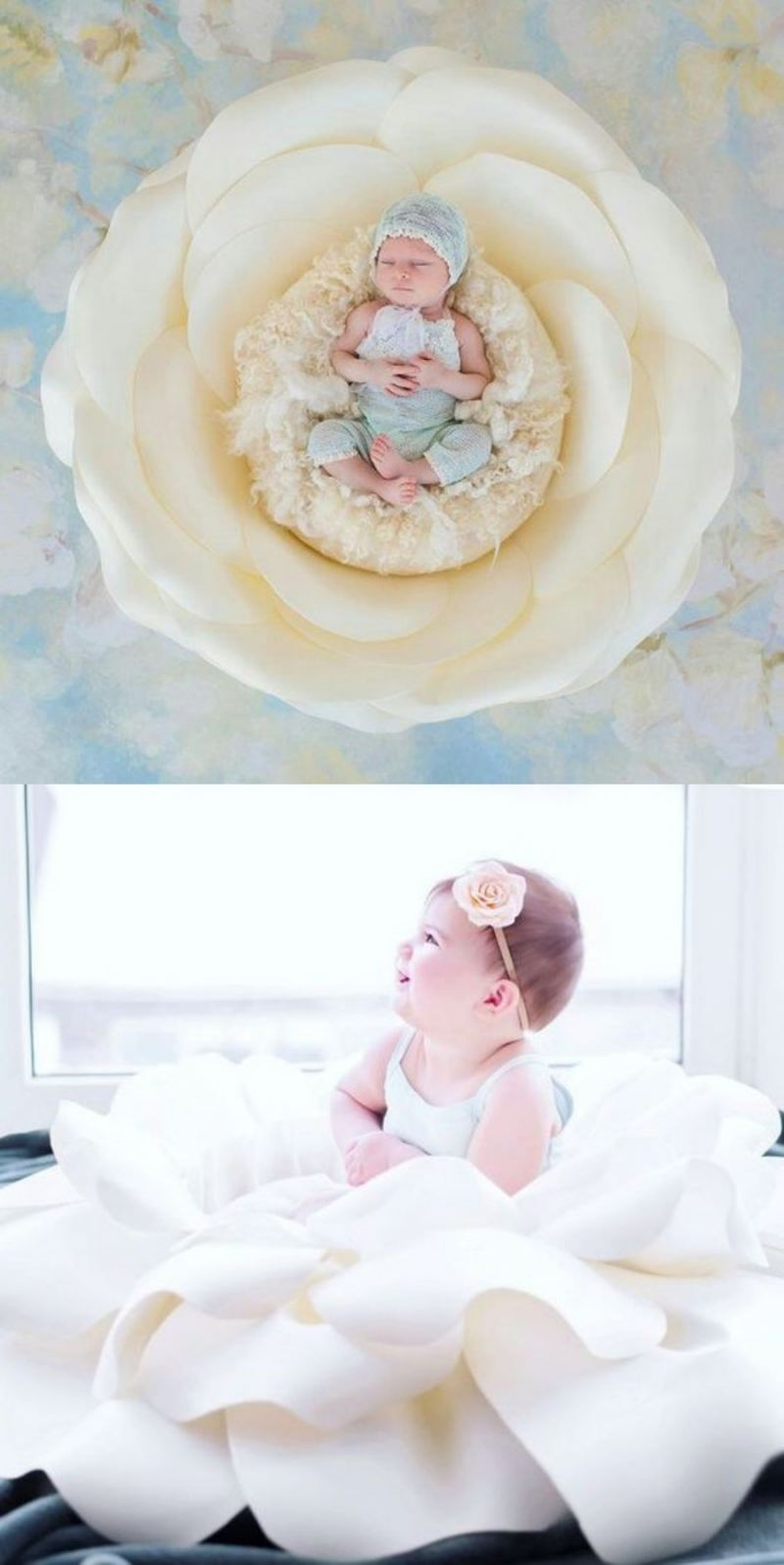 Newborn em flor gigante de papel