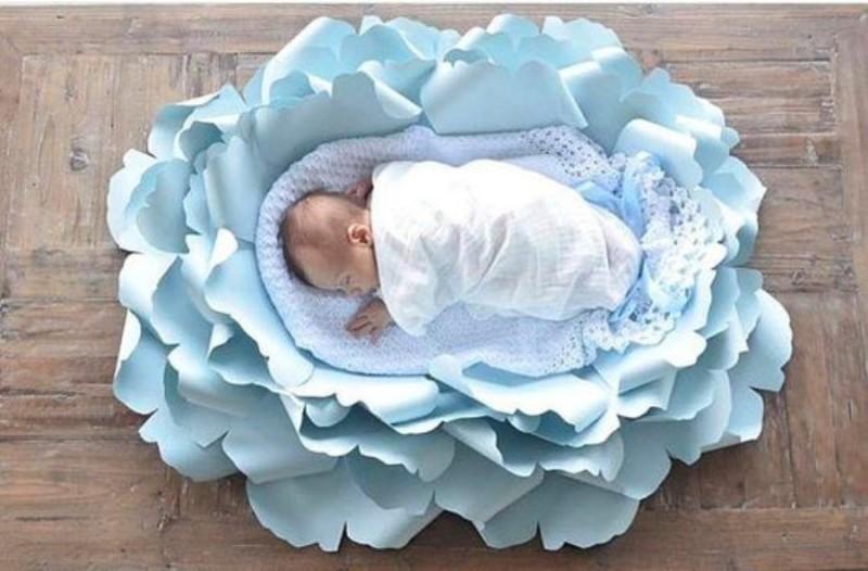 Fotografar newborn em flor gigante de papel