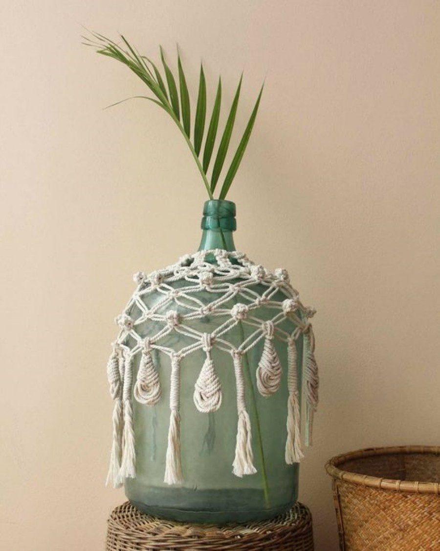 Faça e decore : Capa para vaso em macramê