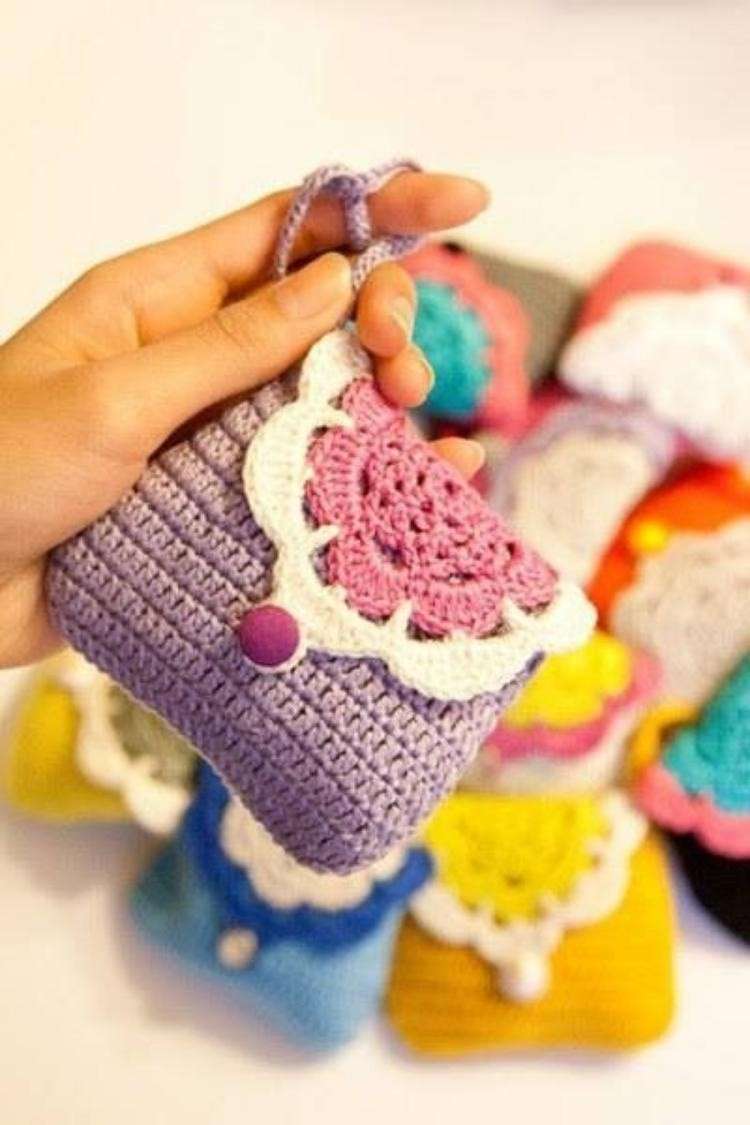 DIY - 30 Ideias de porta-moedas de crochê