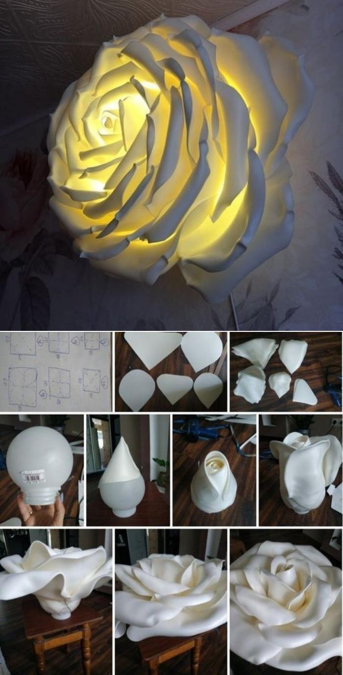 Ideias e modelos de flores de papel gigante - a rosa luminária