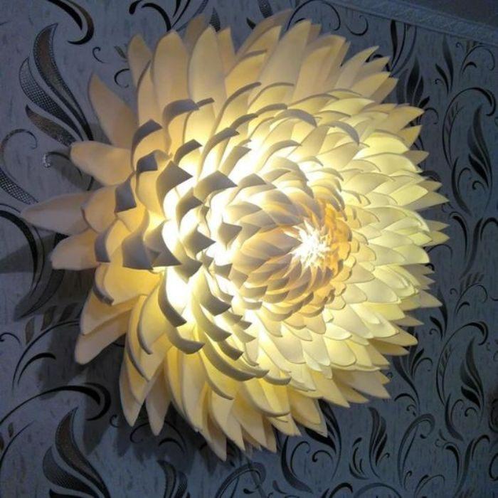 Ideias e modelos de flores de papel gigante - uma luninária
