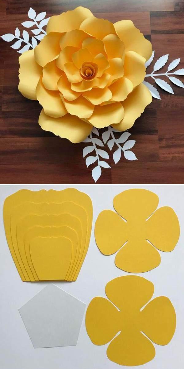 Ideias e modelos de flores de papel gigante - moldes
