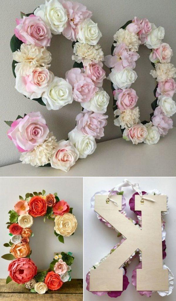 Ideias e modelos de flores de papel gigante - letras e números