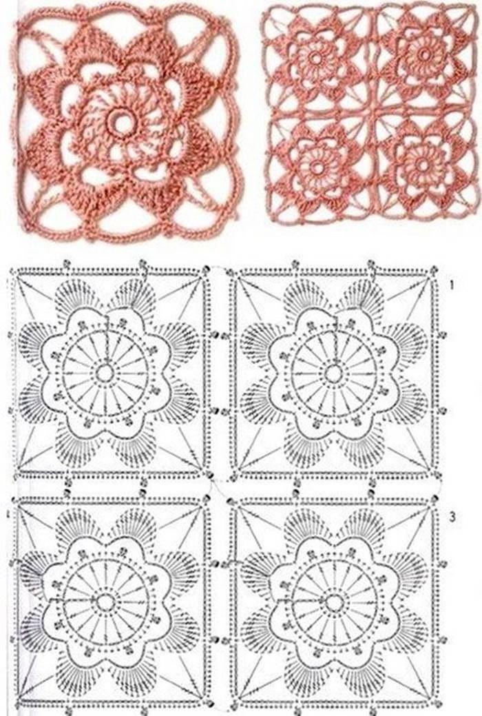 24 modelos e gráficos de quadrados de crochê