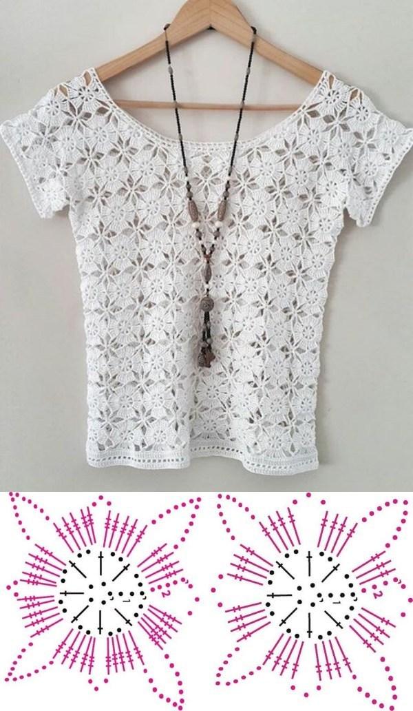 Lindas blusas feitas com quadrado de crochê