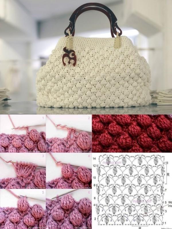 10 modelos de bolsa de crochê e gráficos