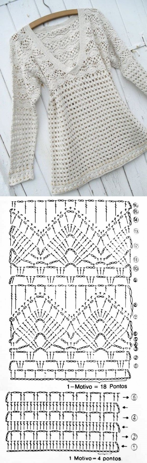 Novos modelos de blusa de crochê com gráfico dos pontos