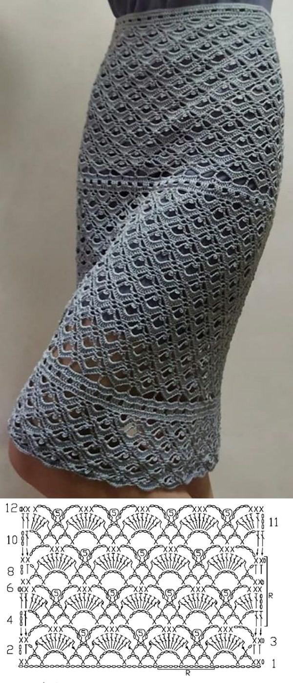 Lindos modelos de saia de crochê com gráfico do ponto