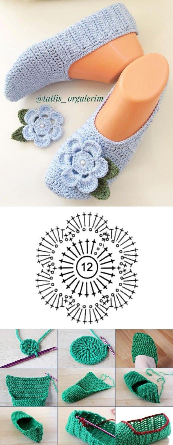 +12 modelos de sapatilha de crochê para ficar em casa