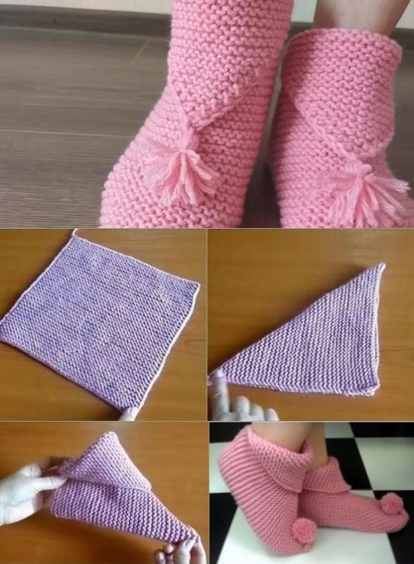 Sapatilhas de tricô ou crochê para ficar em casa