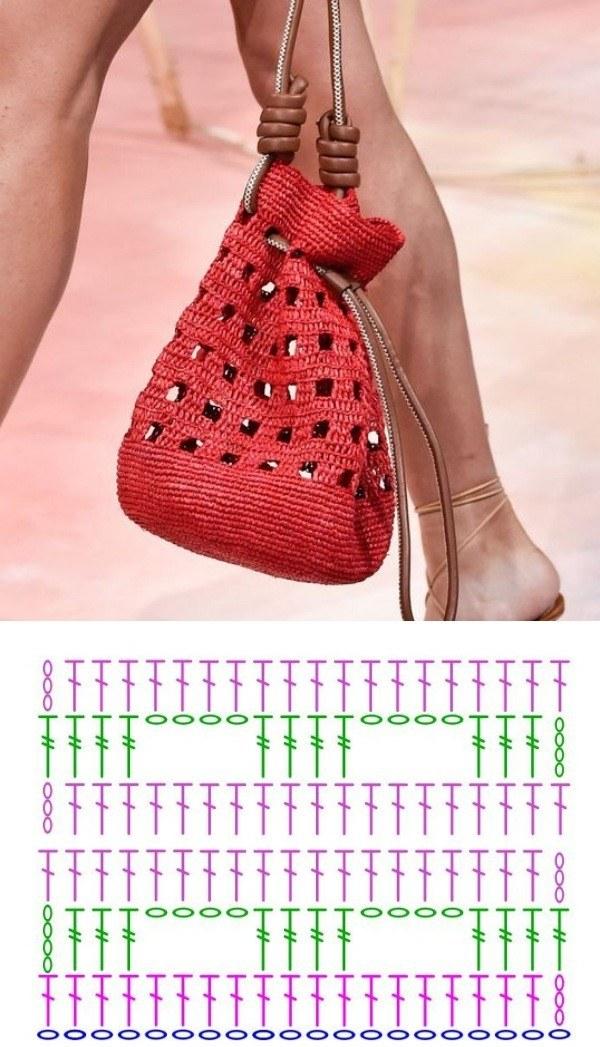 Bolsa pequena de crochê com gráfico do ponto