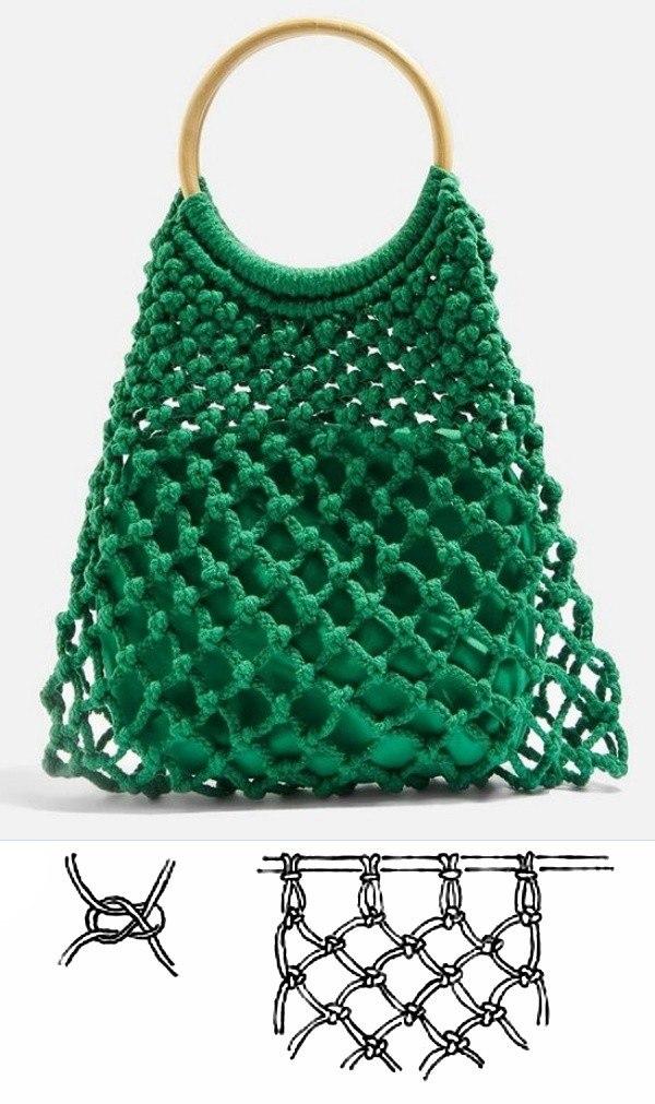 Modelos de bolsa de macramê moderna com gráfico do ponto