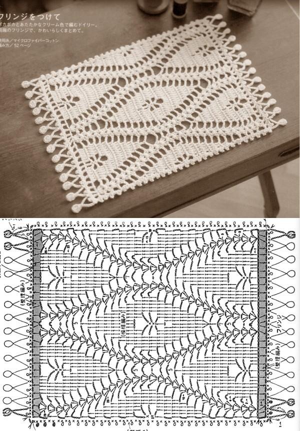 Jogo americano de crochê com gráfico