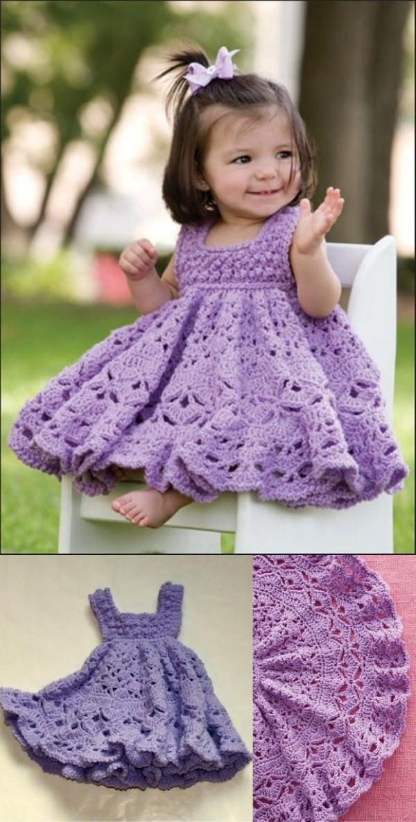 Lindos modelos de vestido infantil de crochê