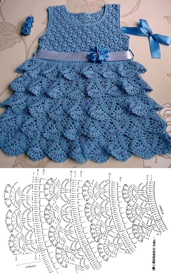 Lindos modelos de vestido infantil de crochê com gráfico do ponto