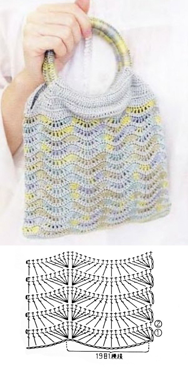 11 Modelos de bolsa de crochê com gráfico do ponto