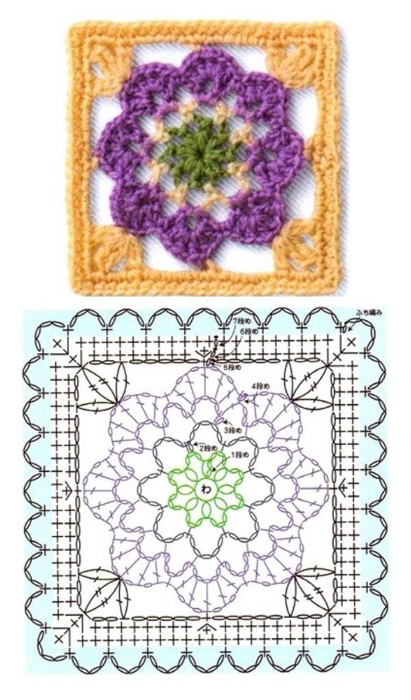 14 Quadrados de crochê com gráfico, copie e crie!