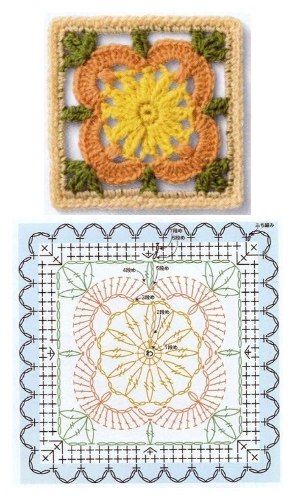 +14 quadrados de crochê com gráfico para copiar