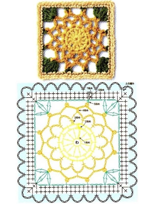 Quadrado de crochê com gráfico