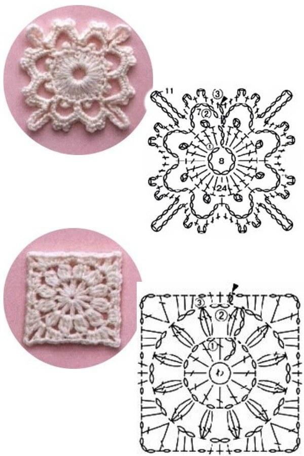 100 Quadrados de Crochê com Gráfico  Parte 3