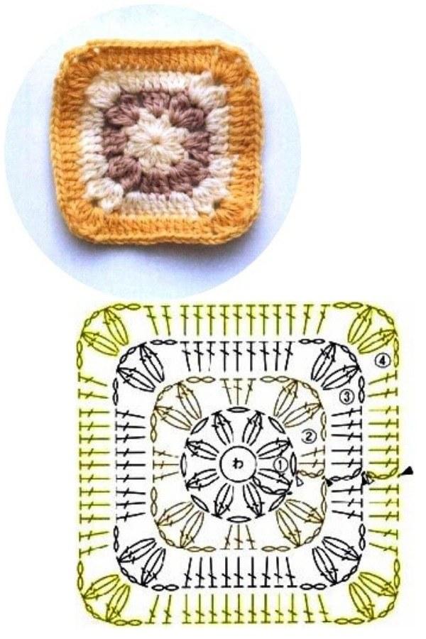 100 Quadrados de Crochê com Gráfico Parte 4