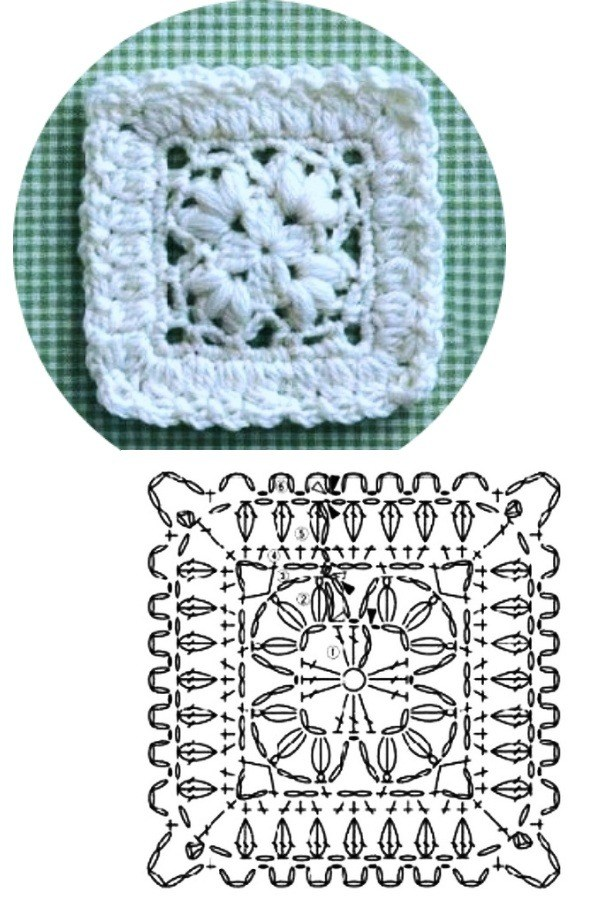 100 Quadrados de Crochê com Gráfico Parte 5