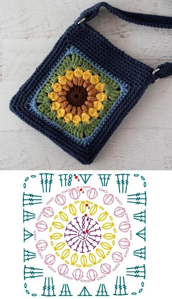 12 Modelos de Bolsas com Quadrado de Crochê com Gráfico