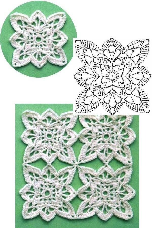 100 Quadrados de Crochê com Gráfico Parte 6