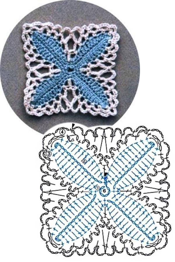 100 Quadrados de Crochê com Gráfico Parte 7
