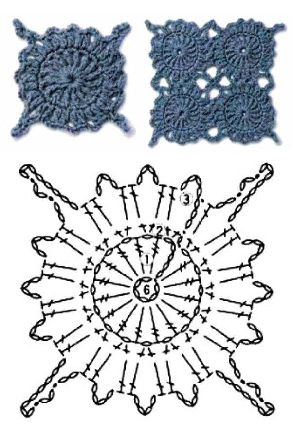 100 Quadrados de Crochê com Gráfico Parte 9