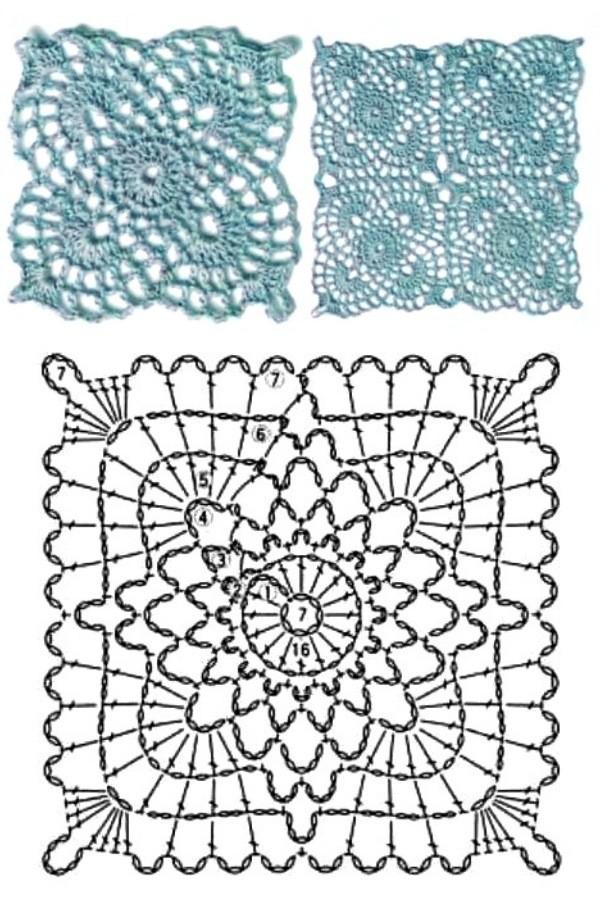 100 Quadrados de Crochê com Gráfico Parte 10 Grátis