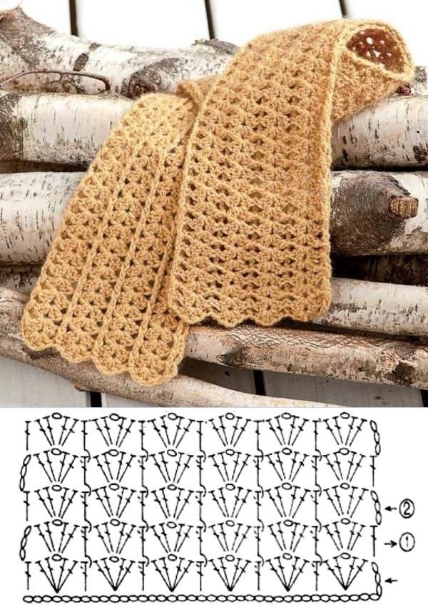 15 Modelos e Pontos de Cachecol de Crochê +Gráficos