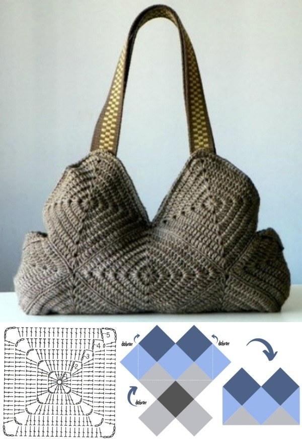 13 Lindas bolsas de crochê geométrico
