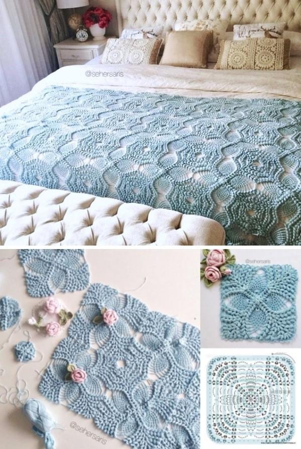Colchas e almofadas de crochê -16 ideias para copiar