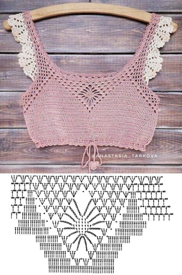 Blusinhas crop top de crochê para copiar