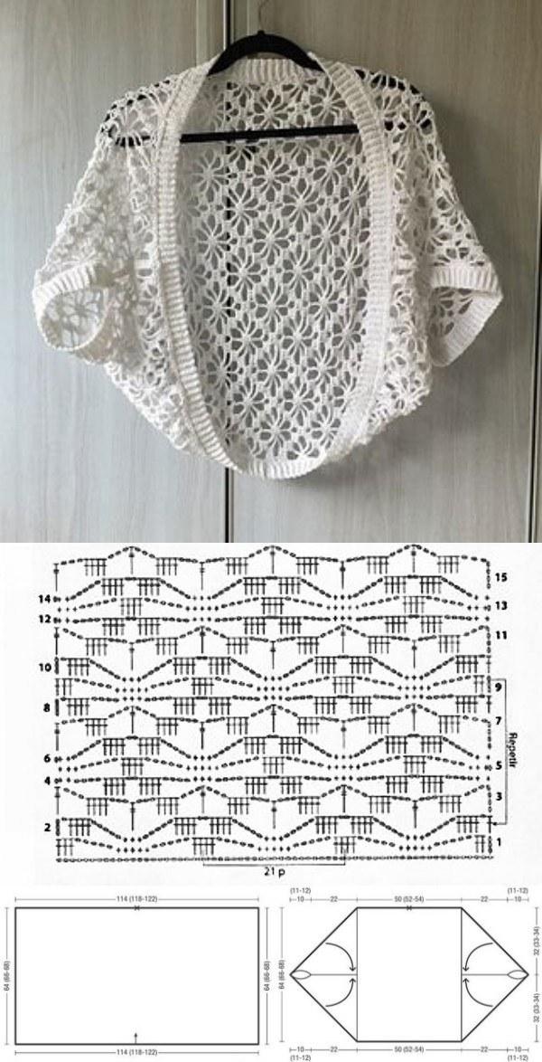 10 modelos de blusa de crochê + gráfico do ponto
