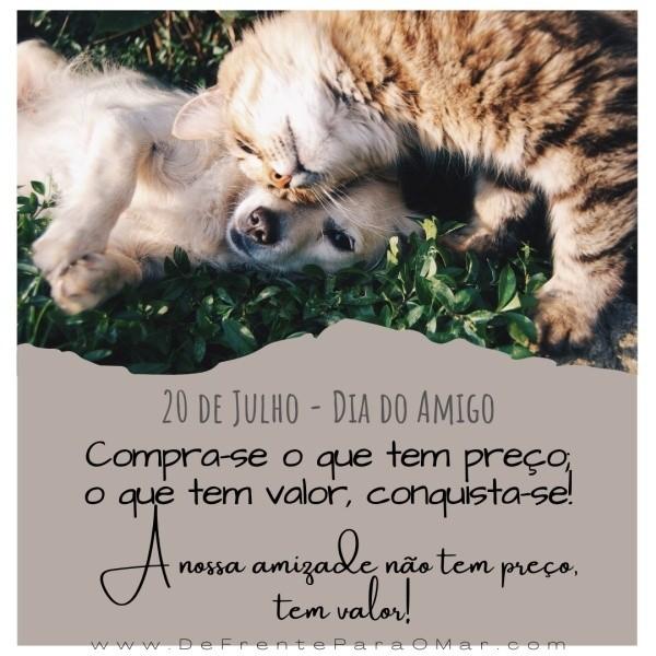 """20 de Julho - Dia do Amigo. """"Compra-se o que tem preço; o que tem valor, conquista-se! A nossa amizade não tem preço, tem valor. Feliz Dia do Amigo!"""""""