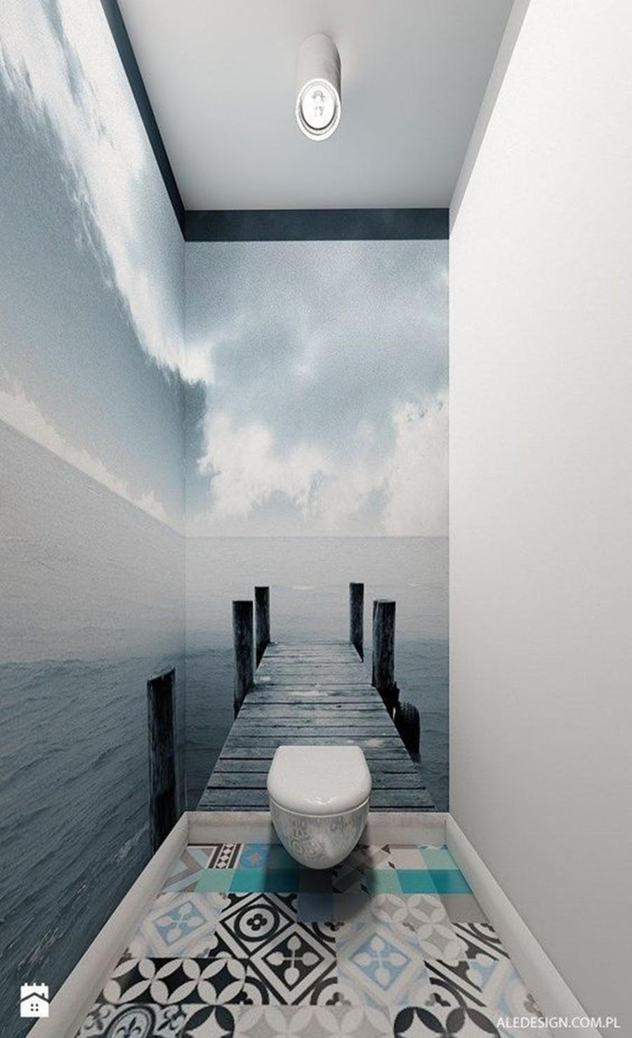 painel fotográfico no banheiro