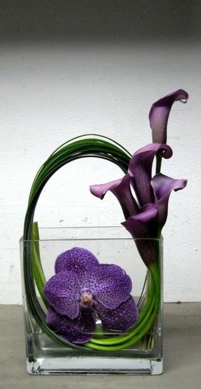 decoração ultravioleta - ikebana - copo de leite
